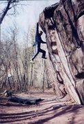 Rock Climbing Photo: The Big throw on Frankenstein. Halloween, 2002.