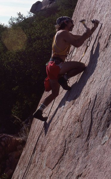 """The first bolt i ever placed on the lead. FA of """"St Alphonsos Pancake Breakfast"""" 5.10c Deerhorn Valley"""
