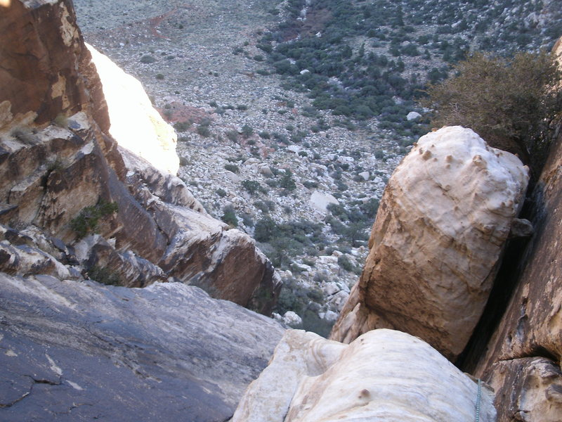 Rock Climbing Photo: looking down the fourth pitch