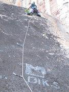 Rock Climbing Photo: Alex going up Blue Meanie.