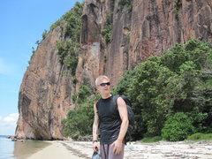 "Rock Climbing Photo: Alex on the ""Beach"". Berhala Island. Too..."