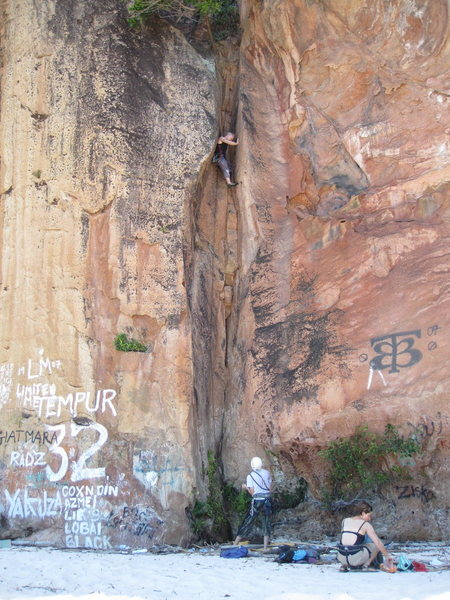 "Rock Climbing Photo: Alex leading ""Dick Van Dyke Comes For Tea&quo..."