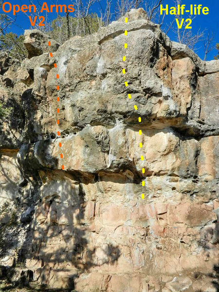Rock Climbing Photo: Open Arms and Half-life topo.