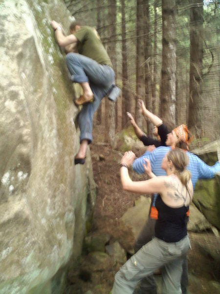 Bouldering at the Callahans with Ace, Oz, & Jena backing me up. Sorry the Photo is a little fuzzy.