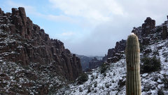 Rock Climbing Photo: Looking down into Hackberry when it's just a wee b...