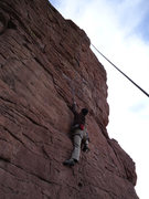 Rock Climbing Photo: Hanna getting into the cruxy part after the rebolt...
