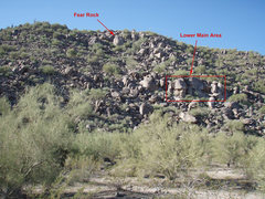 Rock Climbing Photo: 'Fear Rock' and 'Lower main area' as seen from nea...