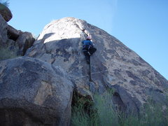 Rock Climbing Photo: Suzanne finishing up on the crack climb 'Naked Bim...