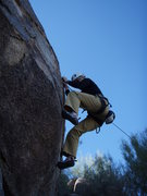 Rock Climbing Photo: Susan demonstrates the difficulty of the start on ...