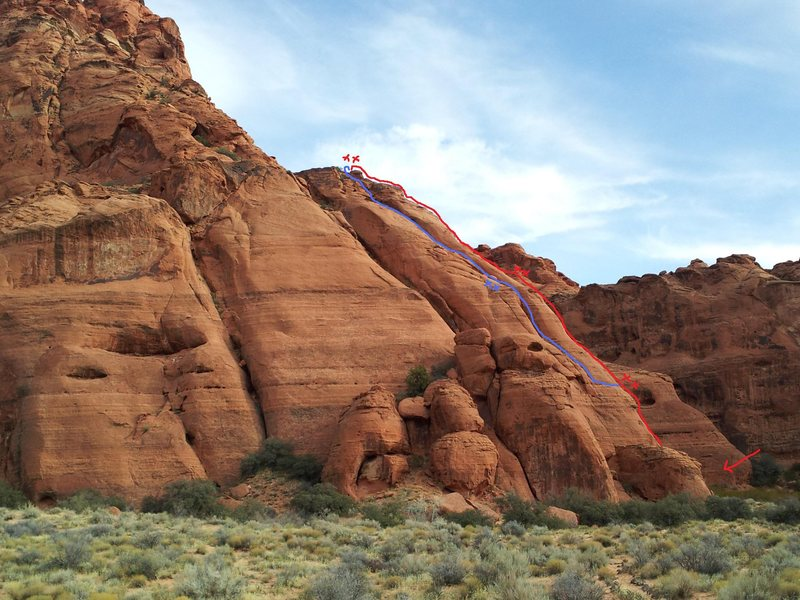 Rock Climbing Photo: Red route = Jimmy Durante Blue route = Leopard's T...