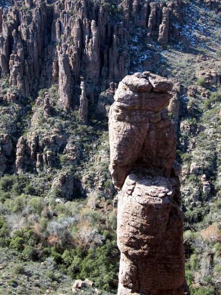 Rock Climbing Photo: The Shmotem Pole as seen from the east rim of the ...