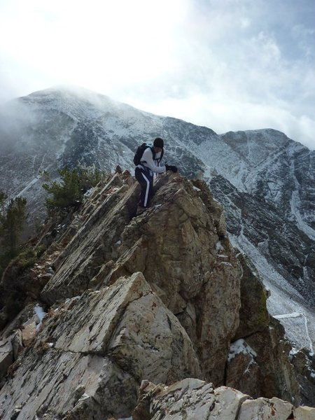 Scrambling back from AF Twins to Hidden Peak.  10/2010