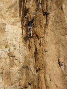 Rock Climbing Photo: Doug Cornick redpointing the route.  The dihedral ...