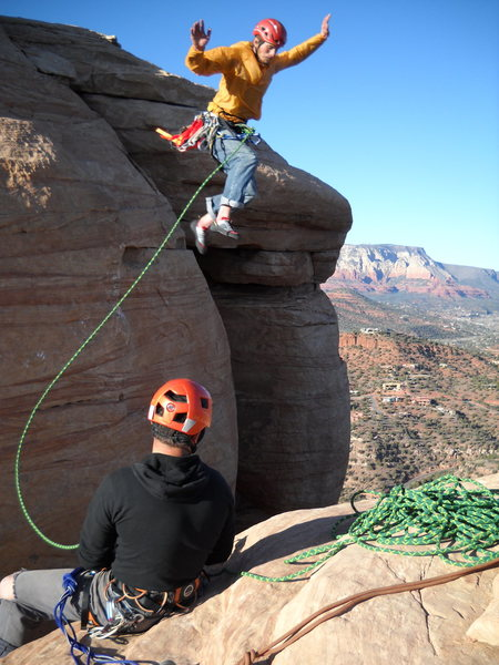 Tower jumping!! The Mace, Sedona.