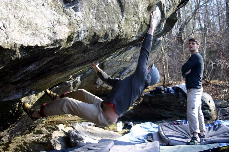 Rock Climbing Photo: Mike Hartford swings and misses on the dyno.