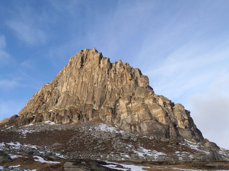 The epic wall. Ridge climb starts on the right
