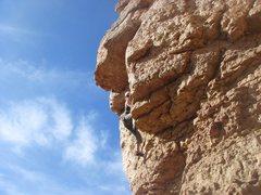 Rock Climbing Photo: Jes starting the crux of Lynch Mob.  Photo by John...