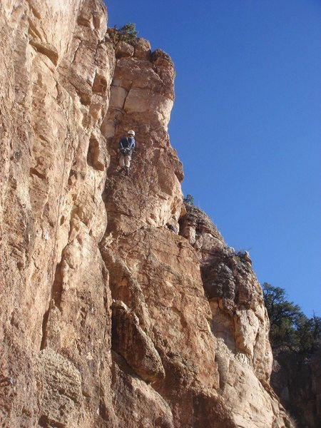 Mark just past the crux.<br> <br> Photo by Greg Kunkel.
