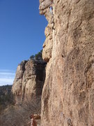 Rock Climbing Photo: John leading Richter Scale.  Photo by Mark Wurster...