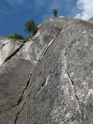 Rock Climbing Photo: Upper section of P1.   Photo: Corey Gargano