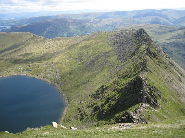 Rock Climbing Photo: View down Striding Edge to Red Tarn ,Helvellyn. ph...