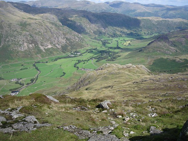 Looking down into the Langdale Valley.photo Bowker