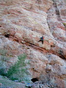 Rock Climbing Photo: Climber on first pitch of aerial combat