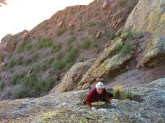 Rock Climbing Photo: Don getting ready to clip the final bolt on the se...