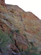 Rock Climbing Photo: Lauren leads p2 of Chimera.