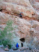 Rock Climbing Photo: Caleb at second bolt of first pitch of Aerial Comb...