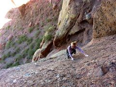 Rock Climbing Photo: Lauren leading p4 of the Hart Route.