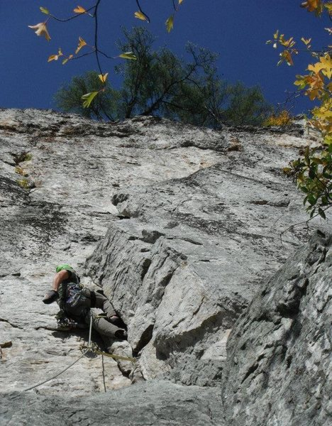 Second pitch of Green Wall. The good 5.7 part with the classic but swing comin up!