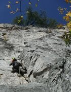 Rock Climbing Photo: Second pitch of Green Wall. The good 5.7 part with...