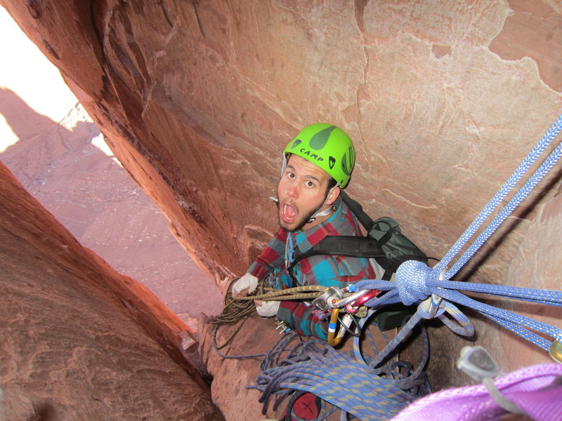 Second pitch belay anchor on North Chimney