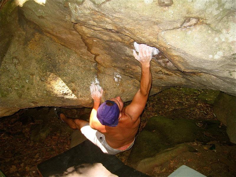 Rock Climbing Photo: FA of Suspension Bridge of Magoo V5