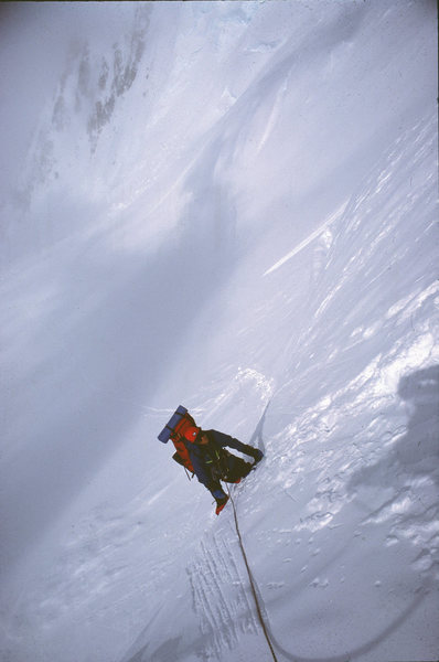 Bo midway to the Messner Couloir - Denali