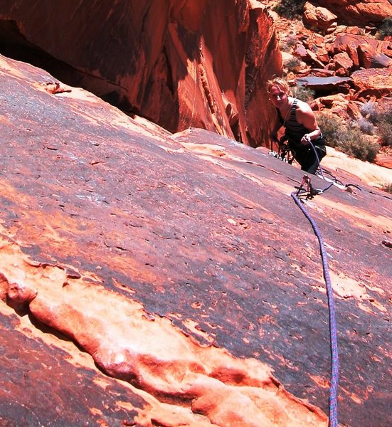 Looking back at P1 belay