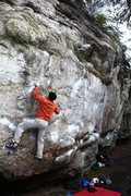 Rock Climbing Photo: Mike passing through the delicate steep crux moves...