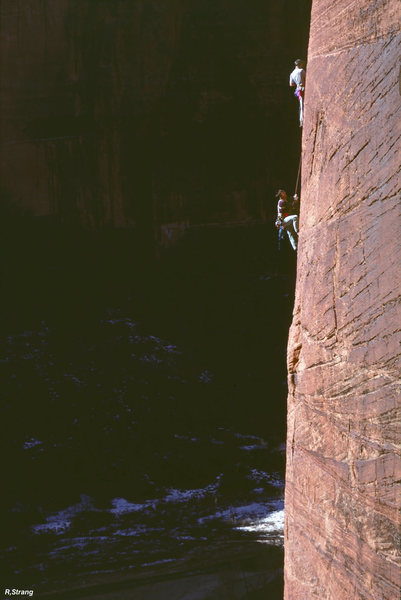 Near the top of pitch 2 - Touchstone Wall - Zion