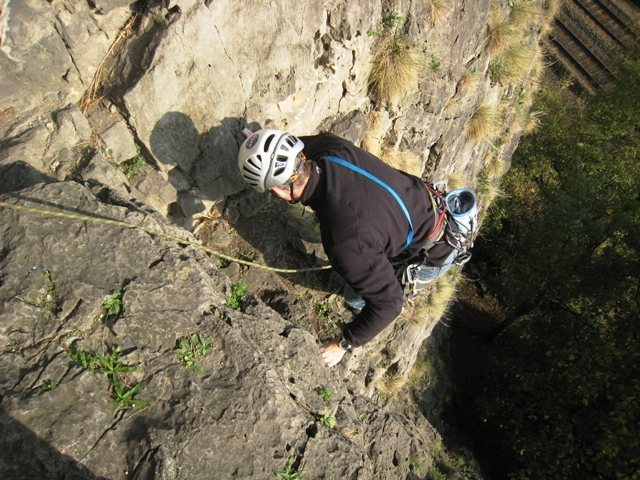 Coming up the first pitch of the namesake route of the sector Liedekerke