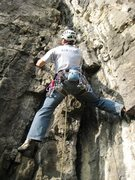 Rock Climbing Photo: Starting up the steep and well featured second pit...