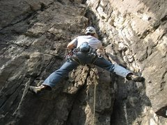 Rock Climbing Photo: Starting up the steep second pitch of La Liedekerk...