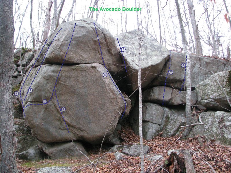 The Avocado. This is the furthest right cluster (looking from the NS trail), not so inspiring looking in the photo, but it offers some fairly good problems up to about 12 feet tall. The two lines in the front are some of the hardest, possibly V5 and 6, but I haven't been on them in ages, so your call. Originally developed by Chris Smith and I, it was later renamed the Avocado Boulder.