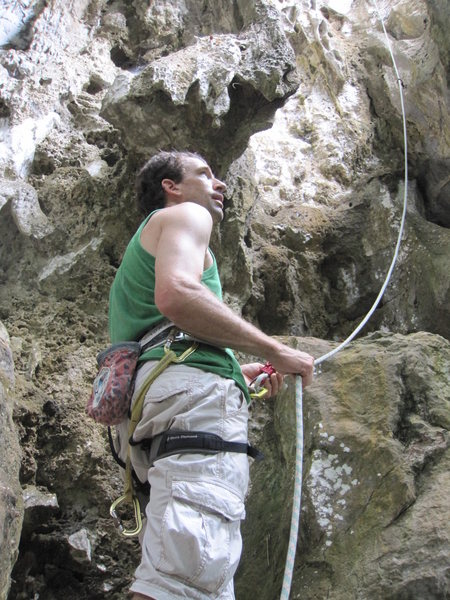 Glen C belaying on Cleaning Lady