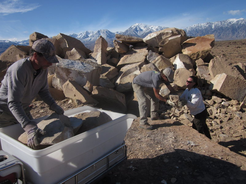 Working with the BLM in Bishop to gather rock from a nearby quarry to close a camp site that was impacting a cultural site.  It was sad to see precious artifacts being used as in fire rings.