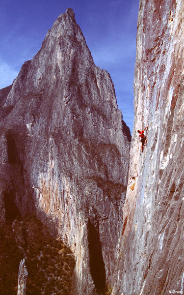 Ned Harris starts the crux-<br> La Mano de Dio (5.12)