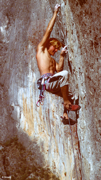 Rock Climbing Photo: Ed Strang powers thru the crux with Outrage in the...