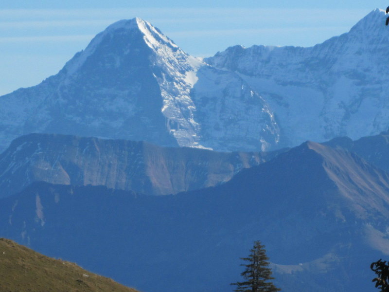 Eiger Nordwand, with Sulegg (at left) and Morgenberghorn (right)in foreground, Bernese Oberland. Dec 2011.