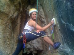 Rock Climbing Photo: Kristina cleaning the bottom of the route and surp...