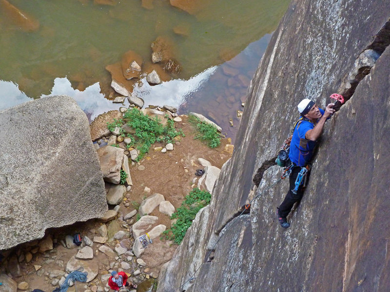 Rock Climbing Photo: Nestor showing his O-face, his Off-width face that...